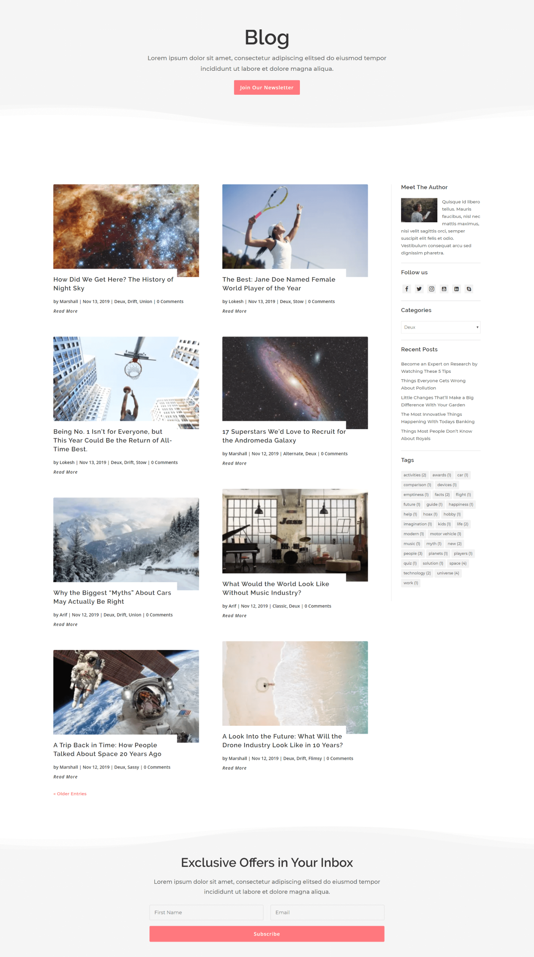 Deux Divi Blog Layout