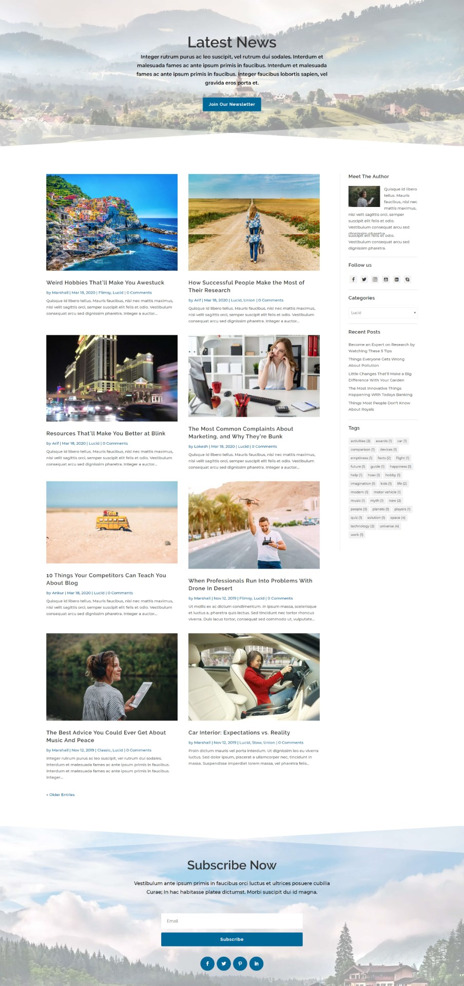 Lucid Divi Blog Layout